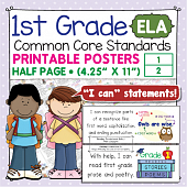 First Grade Common Core Standards Posters I Can Statements - ELA