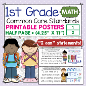 First Grade Common Core Standards Posters I Can Statements - Math