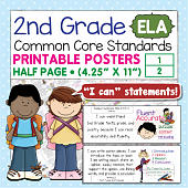 Second Grade Common Core Standards Posters I Can Statements - ELA