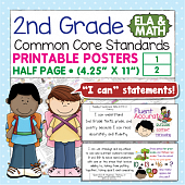 Second Grade Common Core Standards Posters I Can Statements - Math & ELA