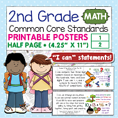Second Grade Common Core Standards Posters I Can Statements - Math