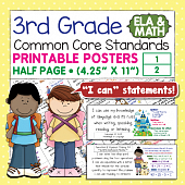 Third Grade Common Core Standards Posters I Can Statements - Math & ELA