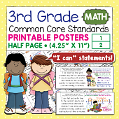 Third Grade Common Core Standards Posters I Can Statements - Math
