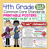 Fourth Grade Common Core Standards Posters I Can Statements - Math & ELA