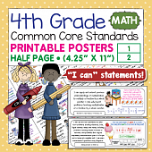 Fourth Grade Common Core Standards Posters I Can Statements - Math
