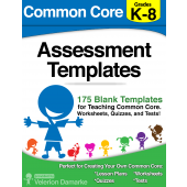 K-8 175 Common Core Assessment Templates for Quizzes, Worksheets, Lesson Plans