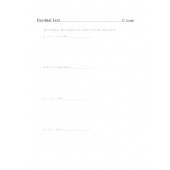 Decimal Test 5th Grade