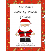 Christmas Color-by-Vowels (Short) 4 Total, Short Vowel Reading Activity