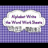 Alphabet Write the Word Work Sheet