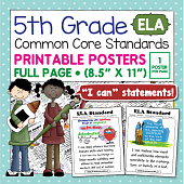 Common Core Standards Posters For Fifth Grade - ELA