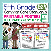 Common Core Standards Posters For Fifth Grade - Math & ELA