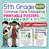 Common Core Standards Posters For Fifth Grade - Math
