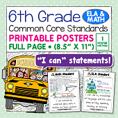 Common Core Standards Posters For Sixth Grade - Math & ELA