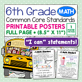 Common Core Standards Posters For Sixth Grade - Math