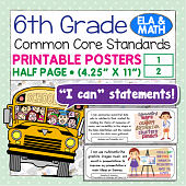 Sixth Grade Common Core Standards Posters I Can Statements - Math & ELA