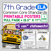 Common Core Standards Posters For Seventh Grade - ELA