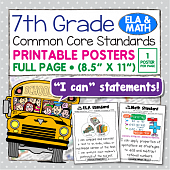Common Core Standards Posters For Seventh Grade - Math & ELA
