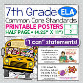 Seventh Grade Common Core Standards Posters I Can Statements - ELA