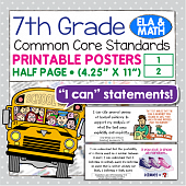 Seventh Grade Common Core Standards Posters I Can Statements - Math & ELA