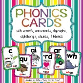 PHONICS Cards & Posters, PHONOGRAMS, Blends, Digraphs, Chunks & More