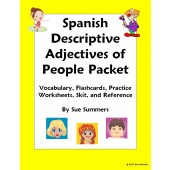 Spanish Adjectives of People Packet - Vocabulary, Practice, Skit, Game Cards