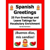 Spanish Greetings and Leave Takings PowerPoint and Signs - 25 Fun Phrases