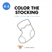 Holiday Stocking Coloring Page & Room Decoration