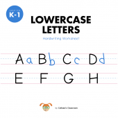 Lowercase Letters Handwriting Worksheet