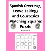 Spanish Greetings, Leave Takings, and Courtesies Matching Squares Puzzle