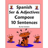 Spanish Adjectives & Ser Worksheet - Compose 10 Sentences