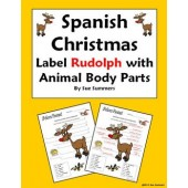 Spanish Christmas / Navidad Label Rudolph with Animal Body Parts