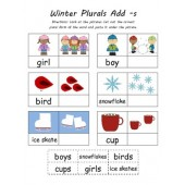 Kindergarten Common Core Christmas & Winter Cut N Paste Plurals (4 Total)
