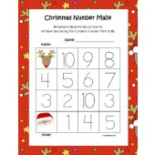 Christmas Leveled Tracing Number Mazes (3 Total)