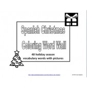 Spanish Christmas Coloring Word Wall - 40 Words with Pictures