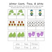 Common Core Winter & Christmas Number Word Count, Trace, & Write (4 Total)