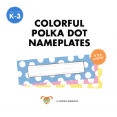 Colorful Polka Dot Nameplate Set