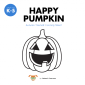 Happy Pumpkin: Fall Themed Coloring Sheet