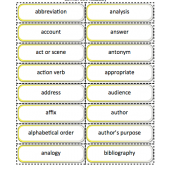 Grades K-8 Common Core Standards ELA Vocabulary Cards 1500 cards