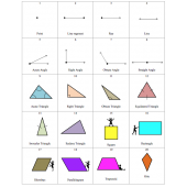 Elementary Geometry 48 Flash Cards - lines, angles, shapes, figures, and more