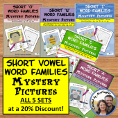 Short Vowel Word Families Mystery Pictures BUNDLE
