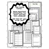 EDITABLE LESSON PLAN & SUBSTITUTE BINDER KIT {black & white}