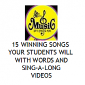 15 Winning Songs for Children with links to Sing-along Videos for  SUBSTITUTES!!