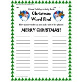 Winter Holiday Activity Pack - Christmas Word Find