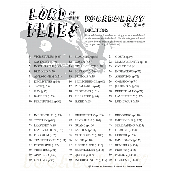 Printables Lord Of The Flies Vocabulary Worksheet of the flies vocabulary worksheet davezan lord davezan