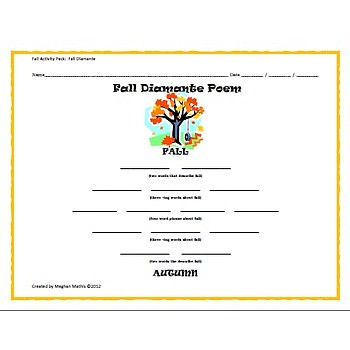 math worksheet : fall activity pack  autumn diamante poem : Diamante Poems Lesson Plans For 4th Grade