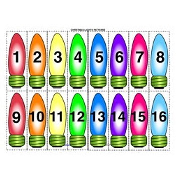 Little Learning Labs - Christmas Lights Sorting Activity - numbers 123s