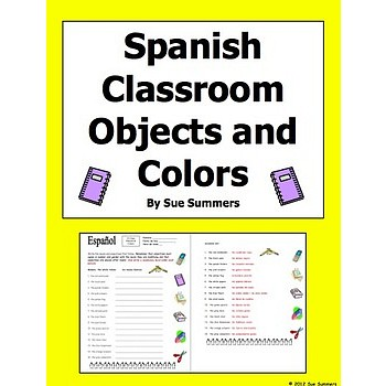 Classroom Objects and Colors Worksheet and Image IDs