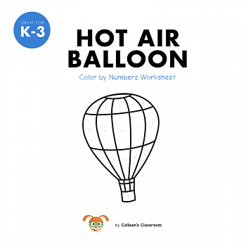 Hot Air Balloon Color by Numbers Worksheet