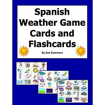 Weather Vocabulary Game Cards and Flashcards - El Tiempo