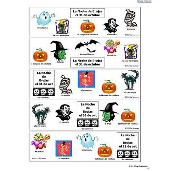 Halloween Bookmarks With and Without Vocabulary Words